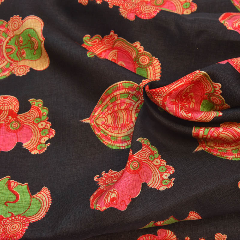 18da7e1df2738d Buy Black-Pink and Green Kuchipudi Design Kalamkari Manipuri Silk-16018