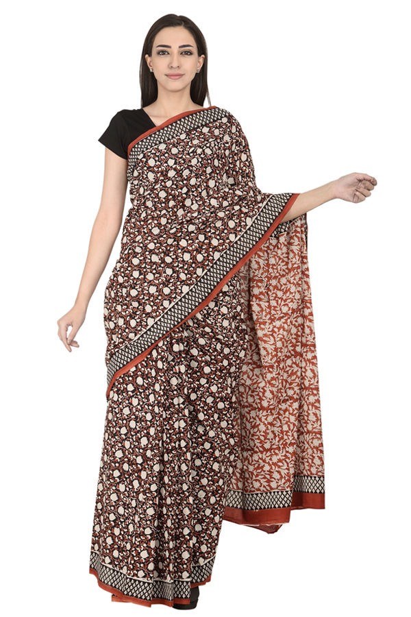 9cd432fecf375 Buy Black-White and Red Floral Design Cotton Block Print Saree-20103