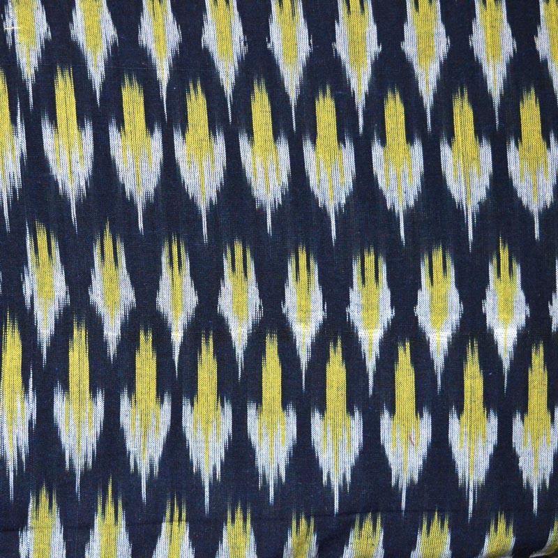 Buy Black, Yellow and White Ikat Fabric