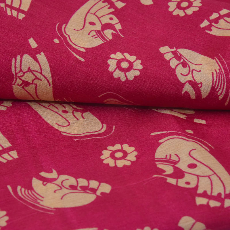 2b7e5ba59cf5ef Buy Dark Pink and Cream Hand Mudra Design Kalamkari Manipuri Silk-16086