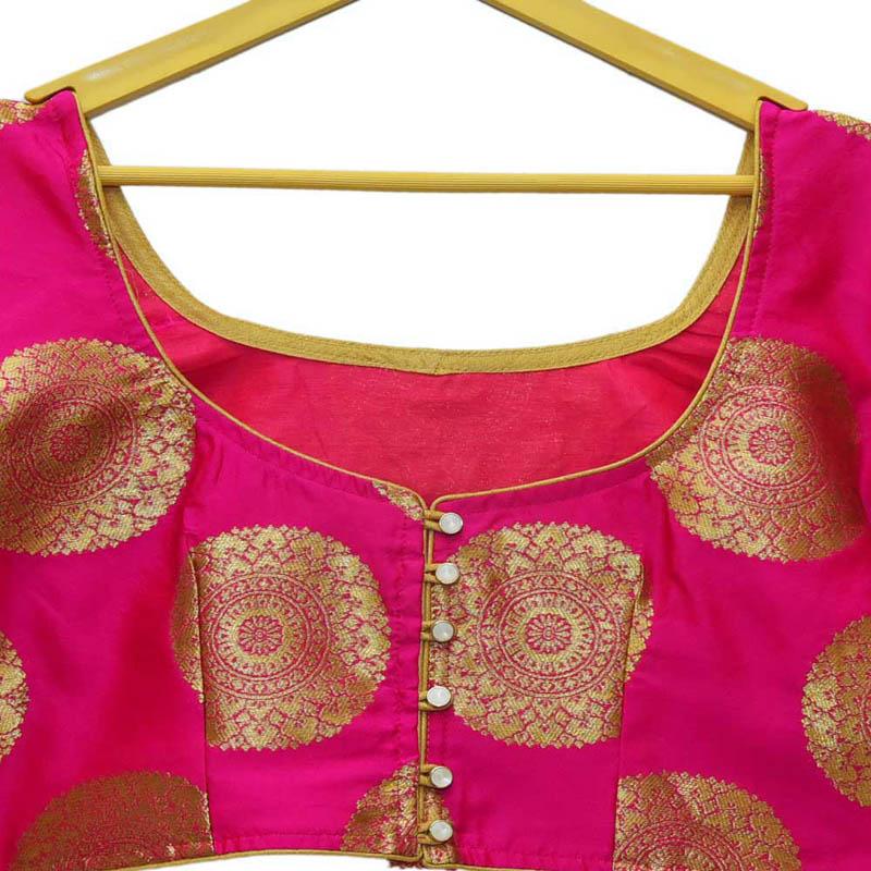 3971a7794c5a8d Buy Pink and Golden Circular Silk Brocade Blouse-30123
