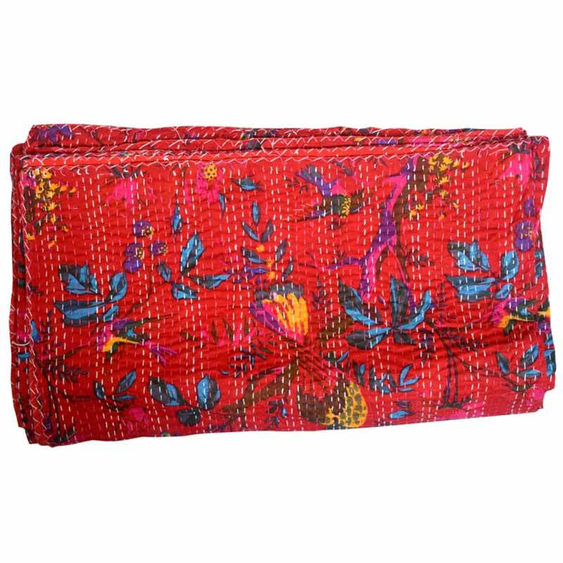 Buy Red Indian Handmade Floral Kantha Quilt for Sale : kantha quilts for sale - Adamdwight.com