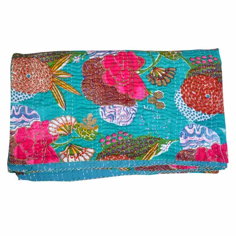 Buy Turquoise Floral Handmade Kantha Quilt for Sale : kantha quilts for sale - Adamdwight.com