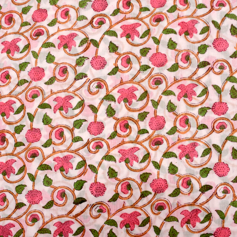 White Pink And Green Flower Block Print Fabric 5208