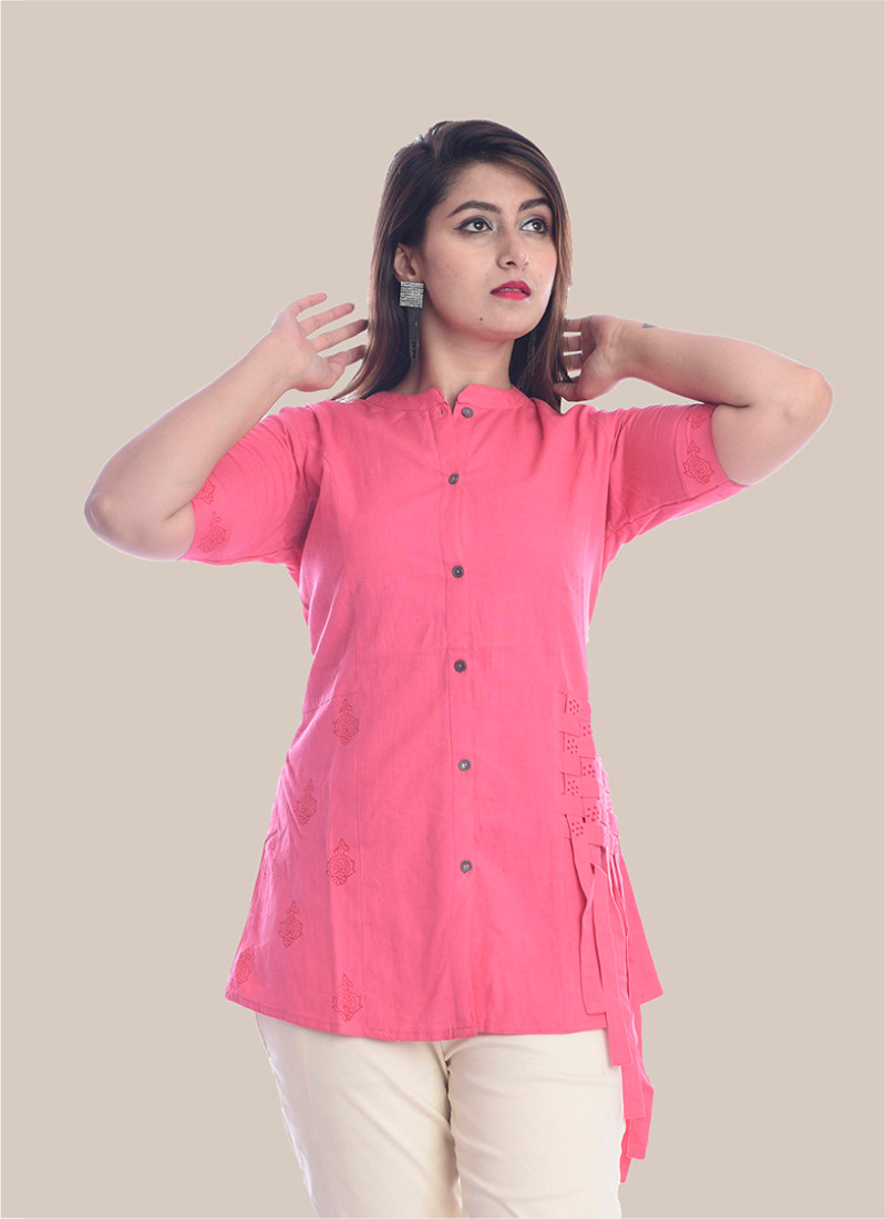 1/2 Sleeve Baby Pink Shirt Style Top-35064