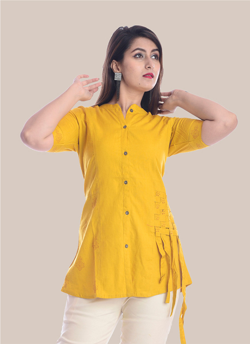 1/2 Sleeve Mustard Yellow Shirt Style Top-35069