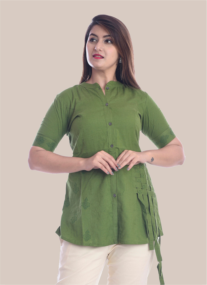 1/2 Sleeve Olive Green Shirt Style Top-35065