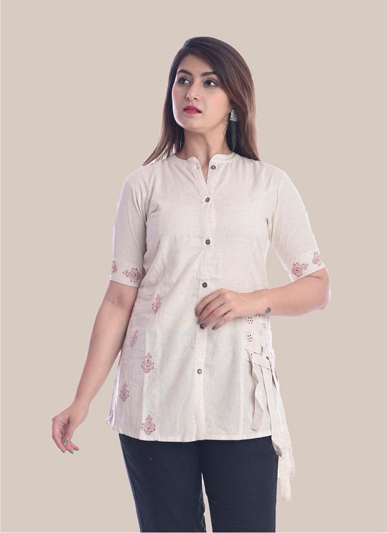 1/2 Sleeve White Shirt Style Top-35079