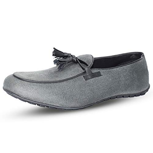 Tassles Suede Drivers Grey Color Shoe-33270