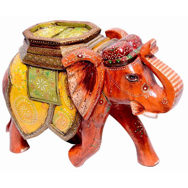 mango-wood Yellow Elephant sculpture-15 inch