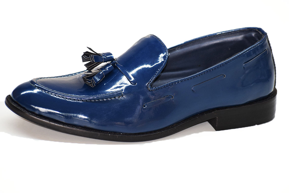 Tassles Patent Loafer Blue Color Shoe-33275