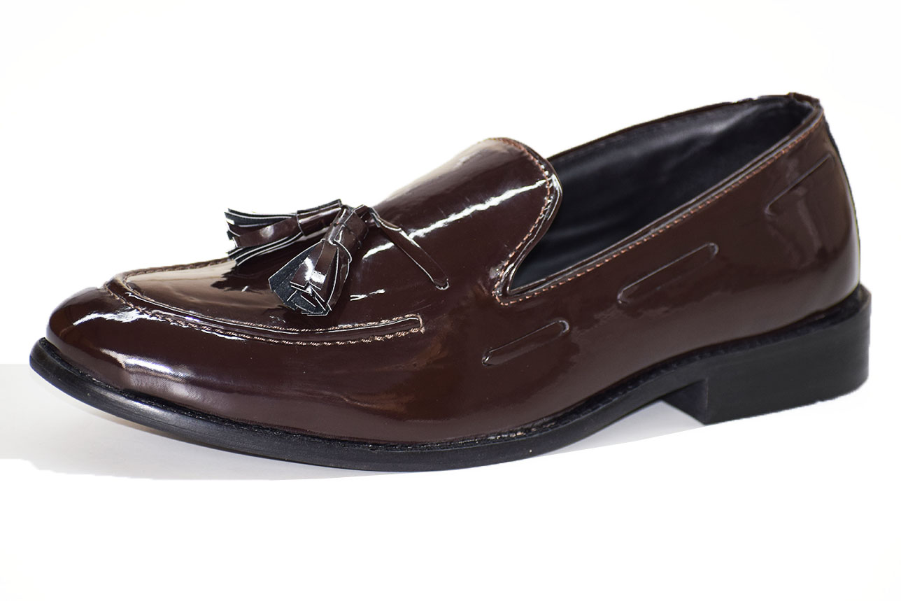 Tassles Patent Loafer Brown Color Shoe-33276