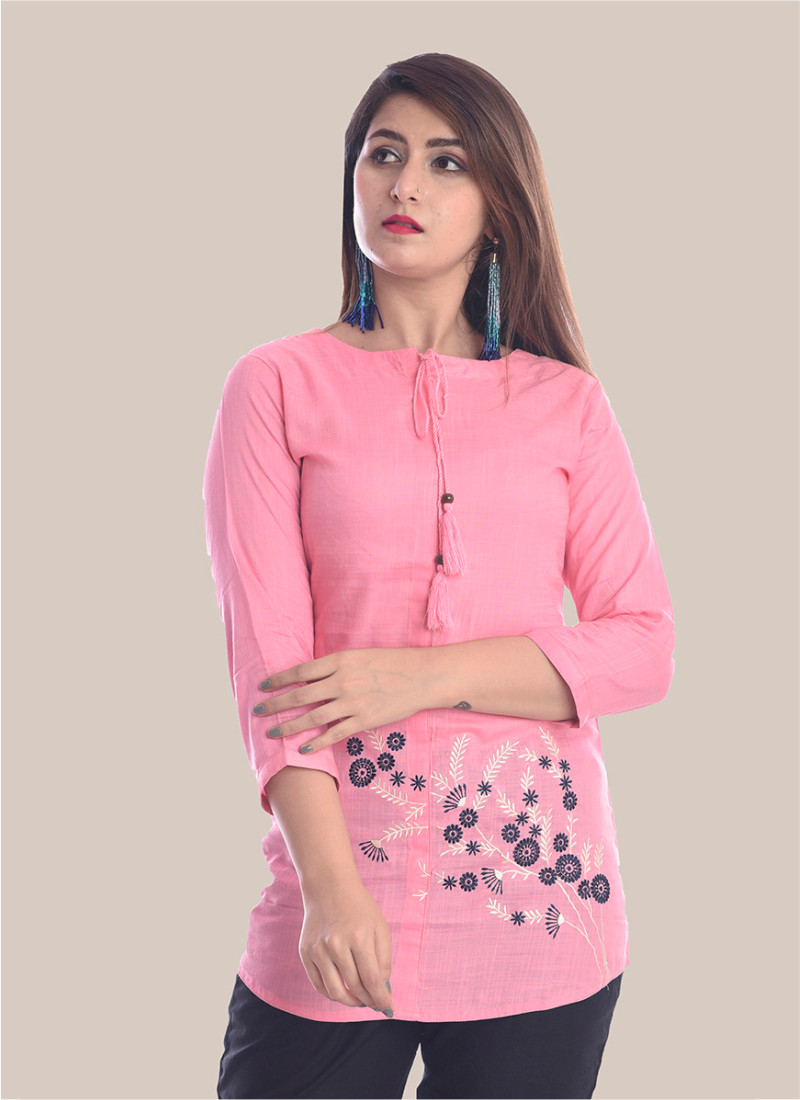 3/4 Sleeve Baby Pink Bottom Embroidery Top-35090