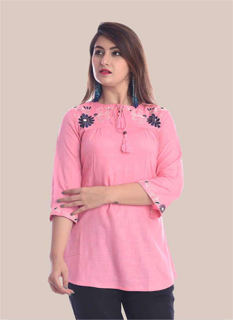 3/4 Sleeve Baby Pink Round Neck Embroidery Top-35091