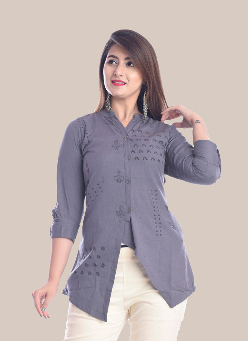 3/4 Sleeve Gray Diagonal Layered Multi Block Print Top-35033