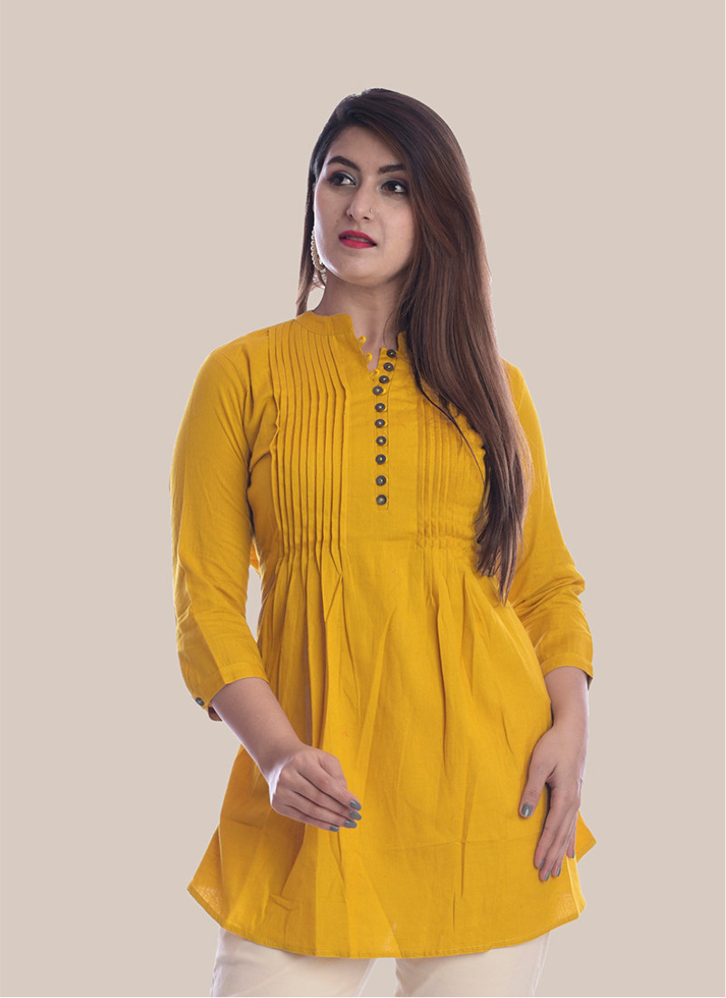 3/4 Sleeve Mustard Yellow Block Print Booty Pleated Top-35054