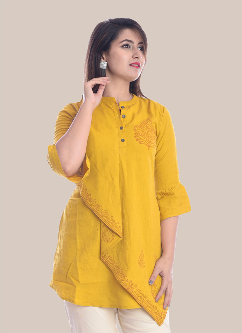 3/4 Sleeve Mustard Yellow Boota Block Print Top-35072