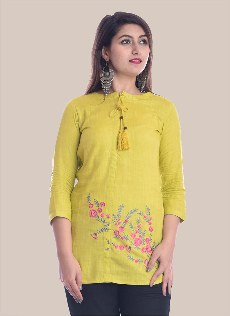 3/4 Sleeve Mustard Yellow Bottom Embroidery Top-35094