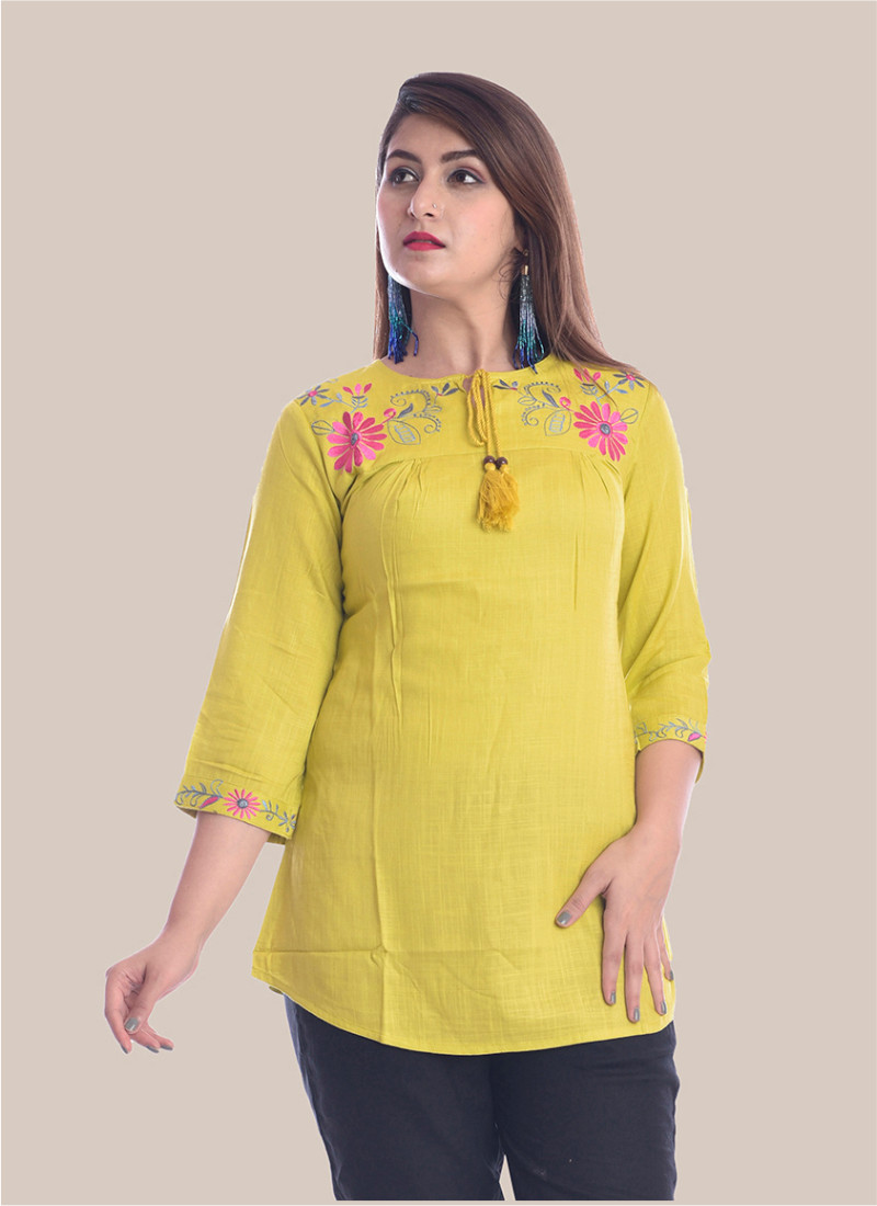 3/4 Sleeve Mustard Yellow Round Neck Embroidery Top-35093