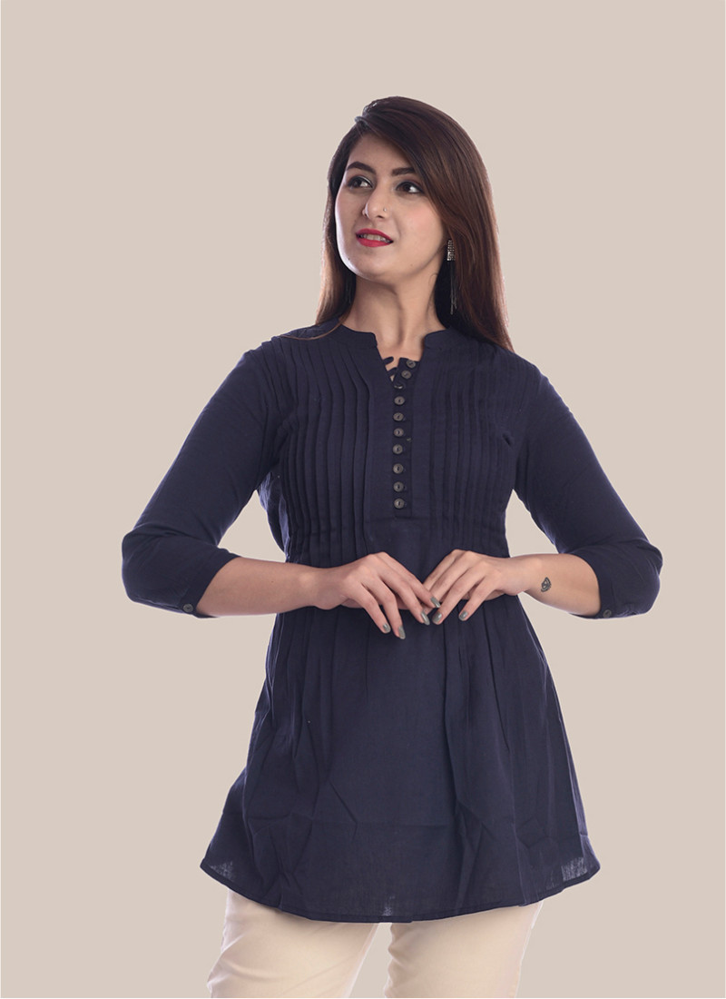 3/4 Sleeve Navy Blue Block Print Booty Pleated Top-35056