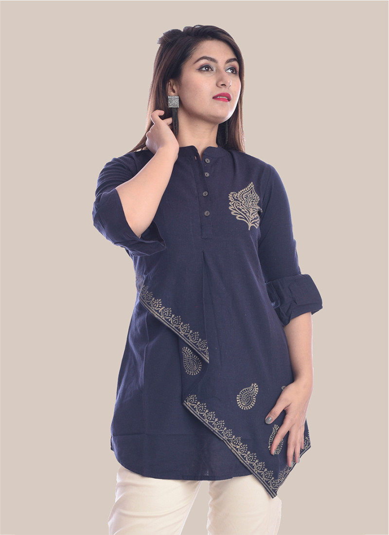3/4 Sleeve Navy Blue Boota Block Print Top-35071