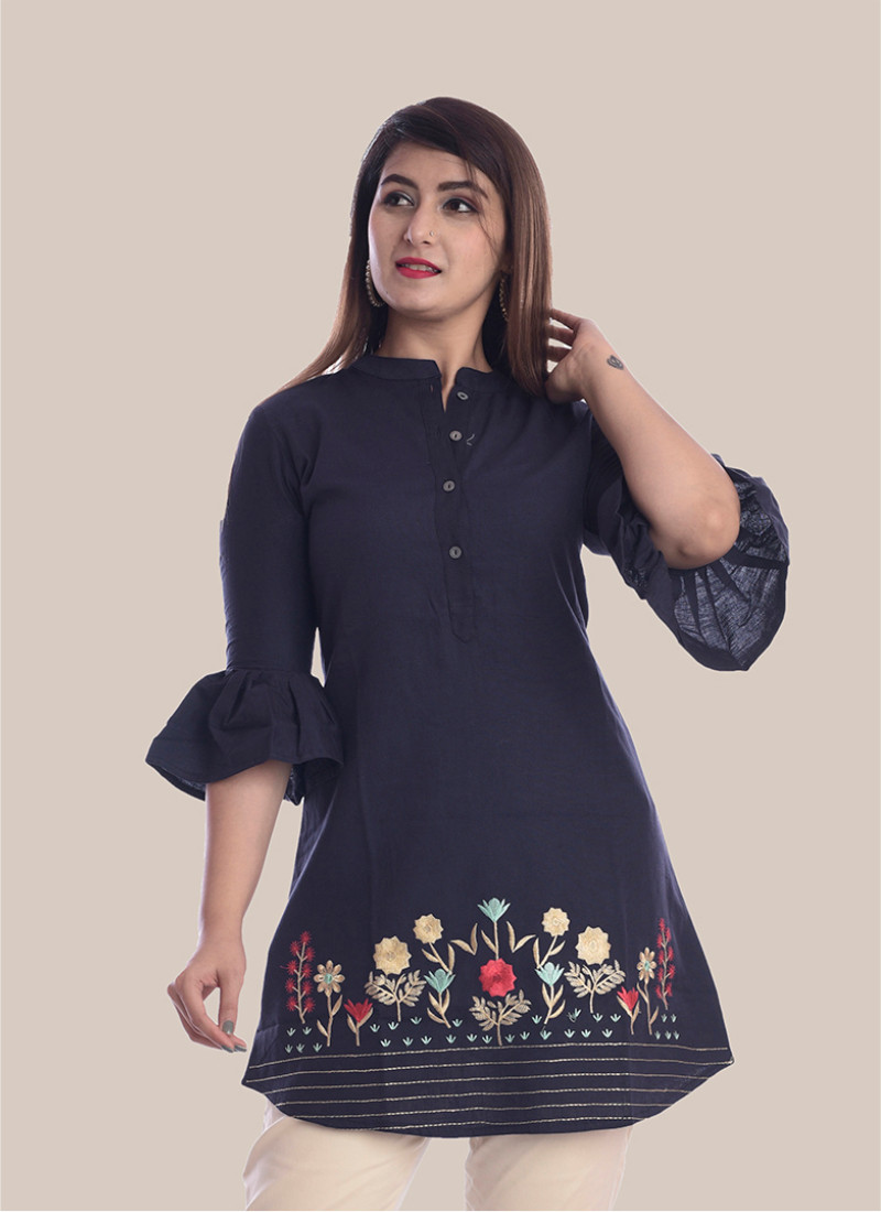 3/4 Sleeve Navy Blue Bottom Embroidery Bell Sleeves Top-35050