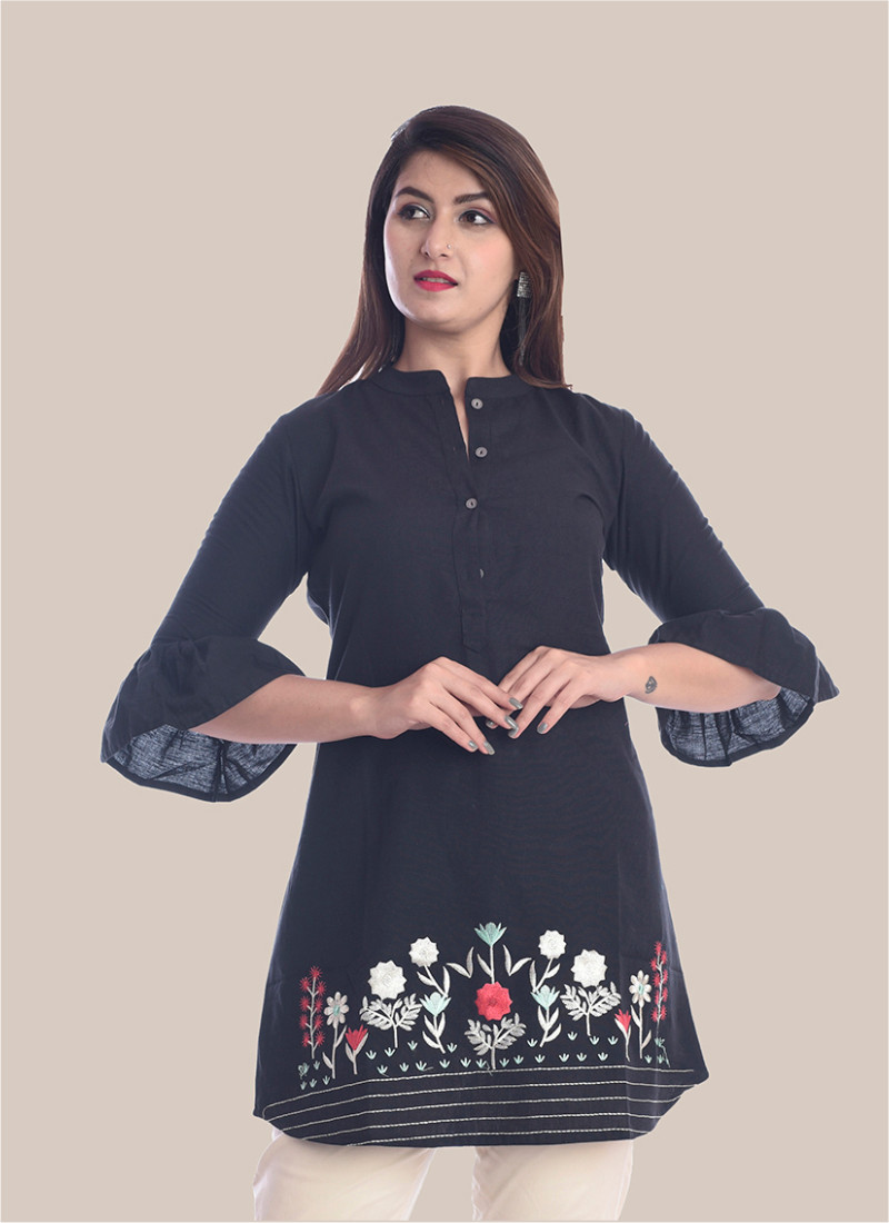3/4 Sleeve Navy Blue Bottom Embroidery Bell Sleeves Top-35061