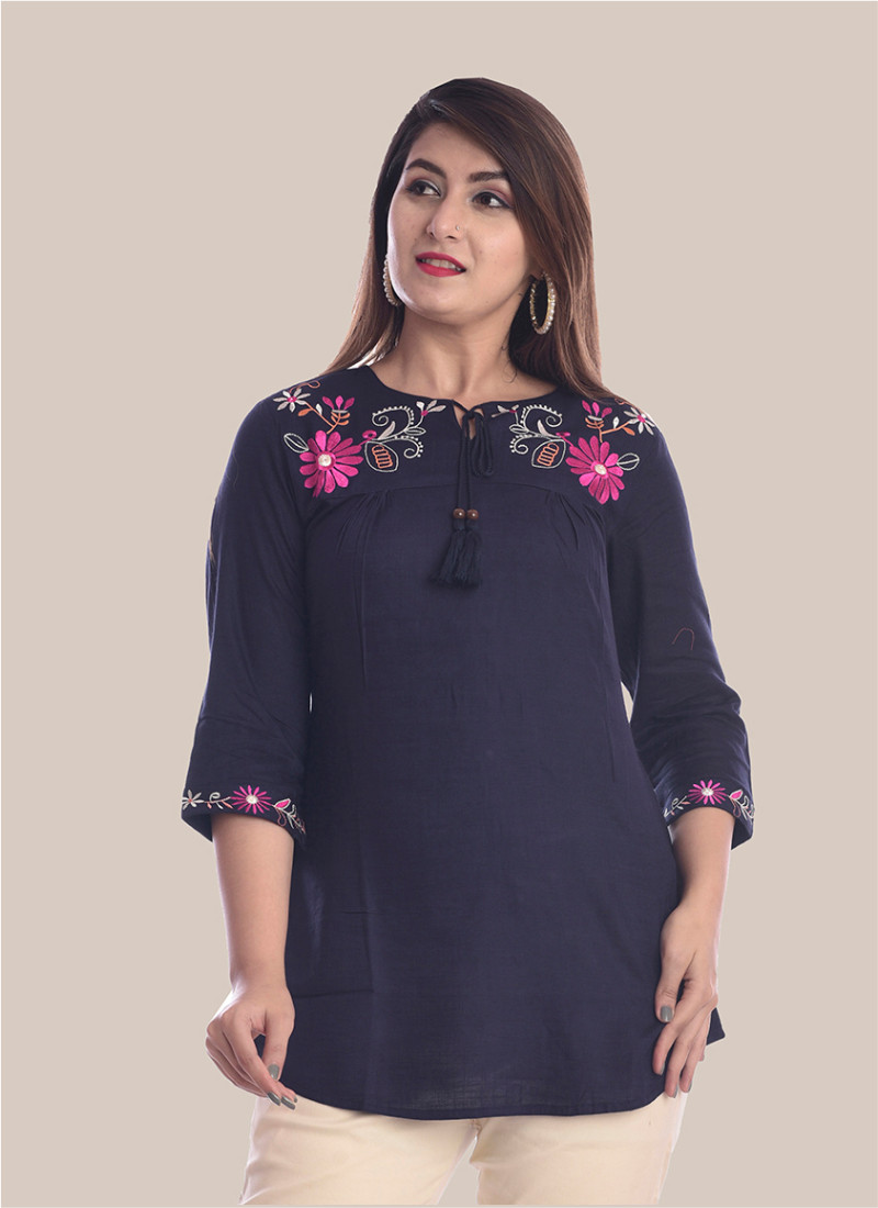 3/4 Sleeve Navy Blue Round Neck Embroidery Top-35042