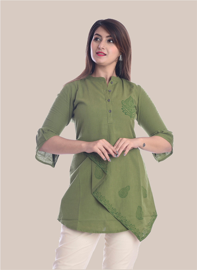 3/4 Sleeve Olive Green Boota Block Print Top-35075