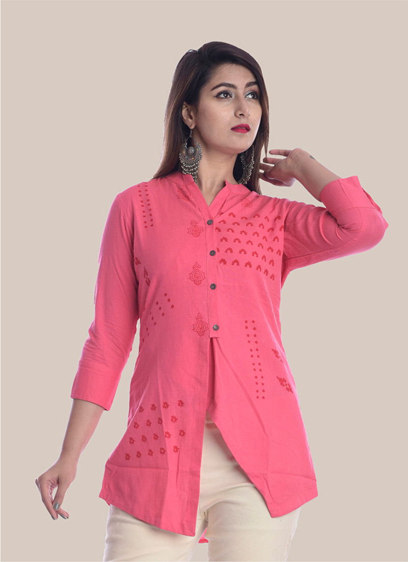 3/4 Sleeve Pink Diagonal Layered Multi Block Print Top-35036
