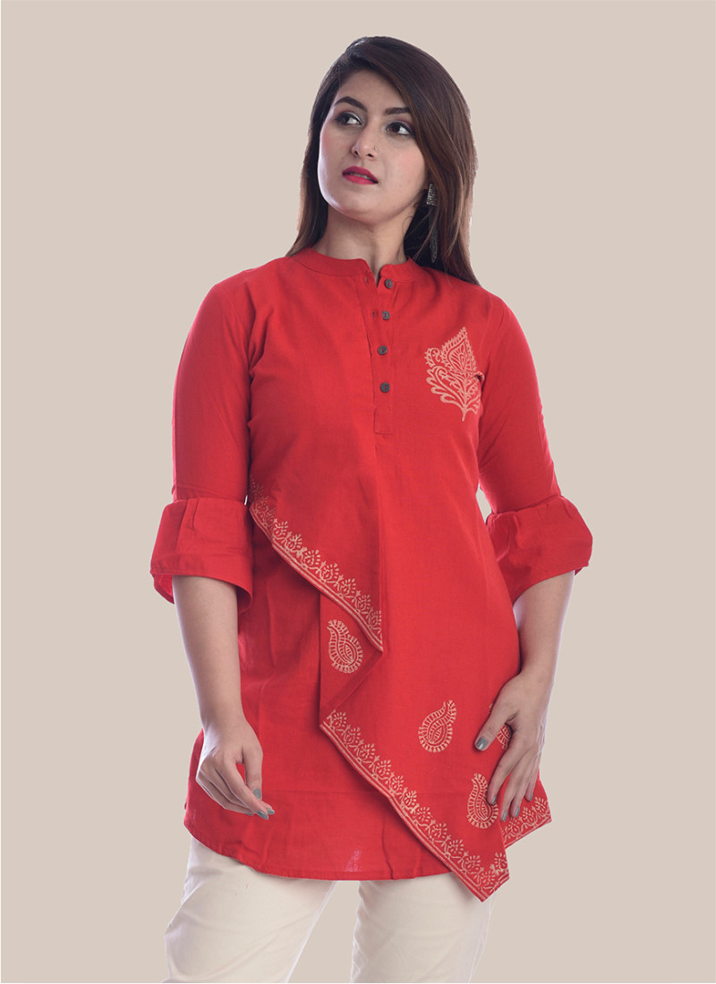 3/4 Sleeve Red Boota Block Print Top-35078
