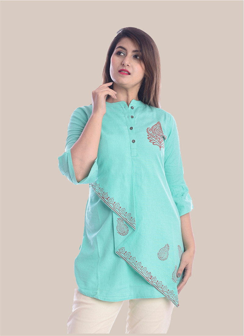 3/4 Sleeve Sky Blue Boota Block Print Top-35077