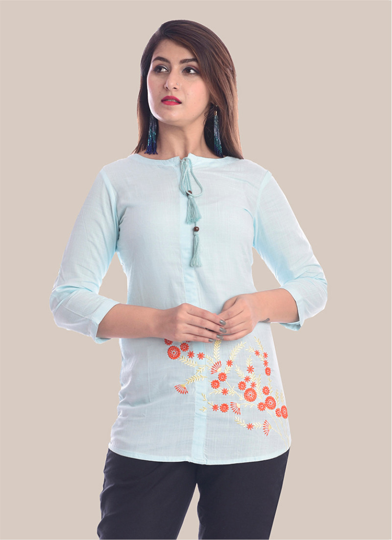 3/4 Sleeve Sky Blue Bottom Embroidery Top-35089