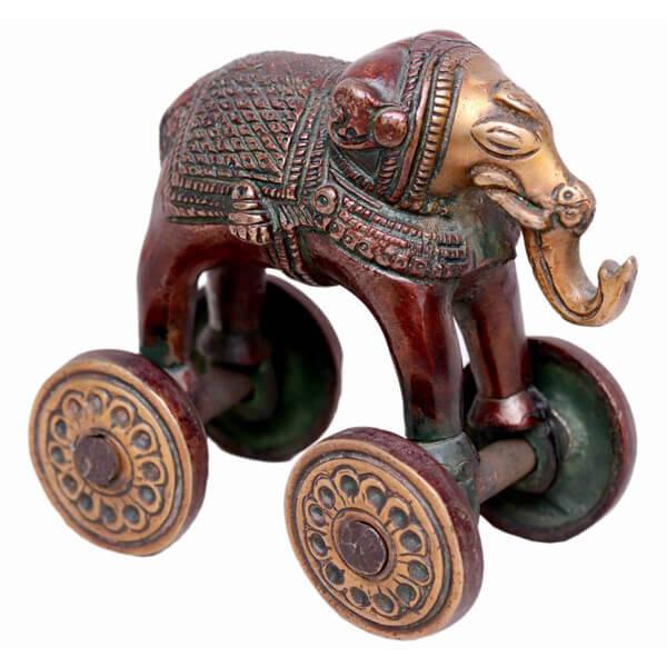 Metal Bronze Elephant Statue-3.5 inch