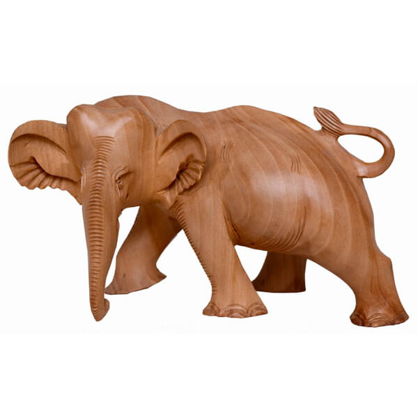 Teak-Wood Natural Color Elephant Statue-3.5 inch