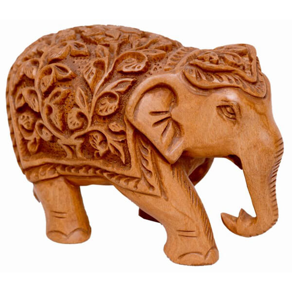 Teak-Wood Natural Color Elephant Statue-4 inch