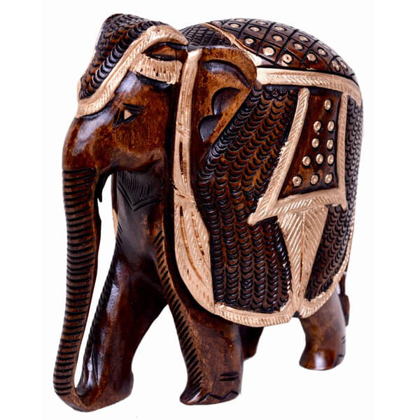 Teak-Wood Natural Color Elephant sculpture-5 inch