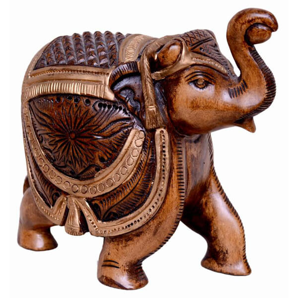 Teak-Wood Natural Color Elephant Statue-5 inch