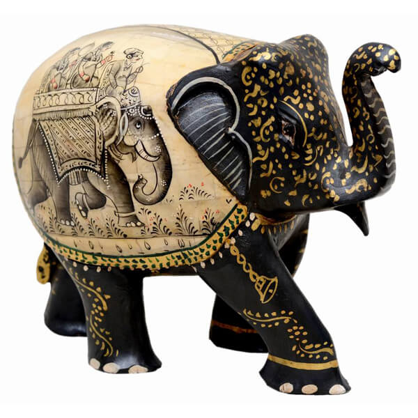 camel-bone-and-teak-wood Elephant sculpture-5 inch