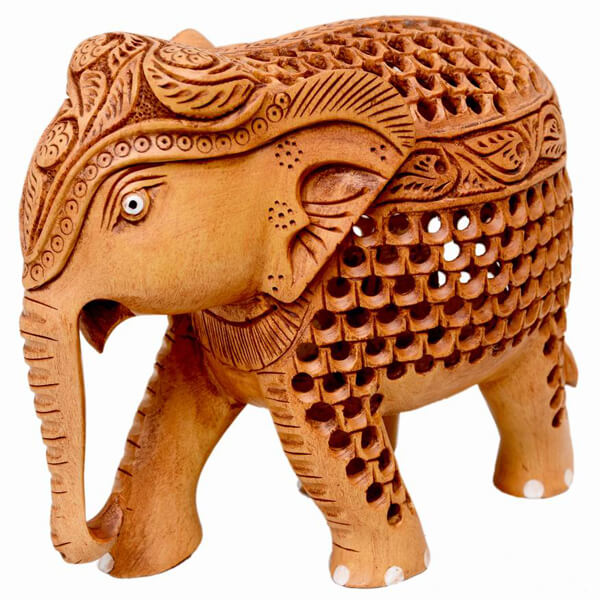 teak wood fine jali elephant teak-wood Natural Color Elephant sculpture-5 inch