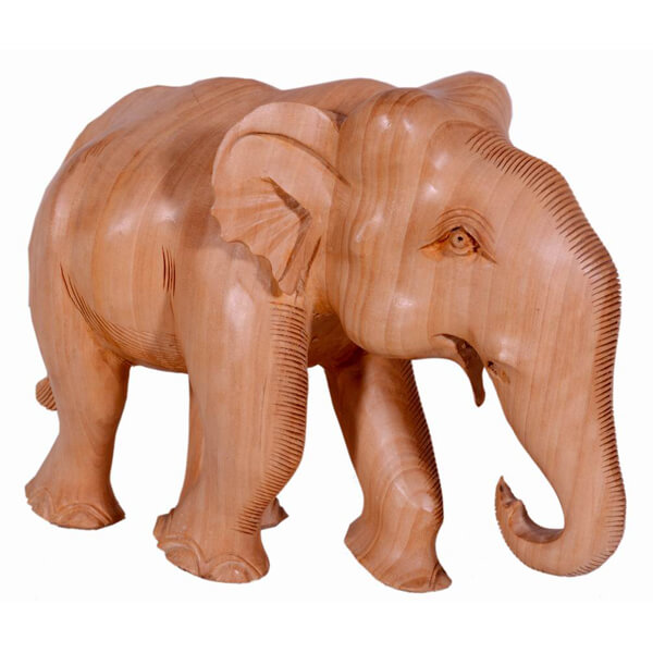 Teak-Wood Natural Color Elephant sculpture-6 inch