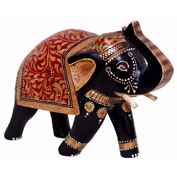 Teak-Wood Black Elephant sculpture-6 inch