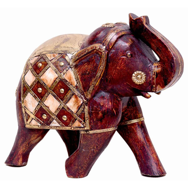 mango-wood Natural Color Elephant Statue-7 inch