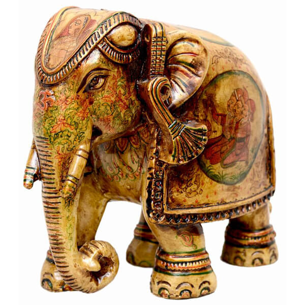 handcarved elephant miniature painting resin Elephant sculpture-7 inch
