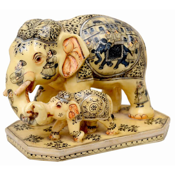 resin Natural Color Elephant sculpture-8 inch