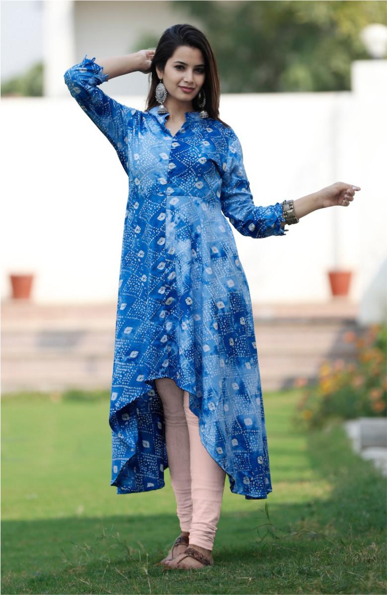 Blue-White Asymtrical kurta on Bandhni print-k80-33601