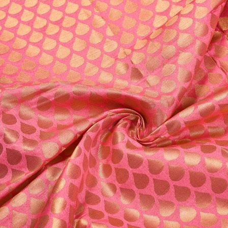 Baby-PInk Golden Paisley Brocade Silk Fabric-12275