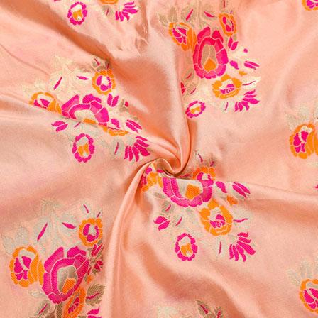 Baby-PInk Golden and Pink Floral Banarasi Silk Fabric-12287