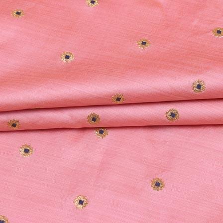 Baby Pink Black and Golden Zari Dot Brocade Silk Fabric-9248
