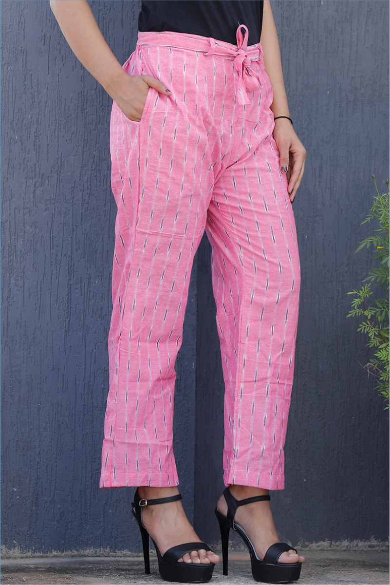 Baby Pink Blue Cotton Ikat zig zag Narrow Pant-34041